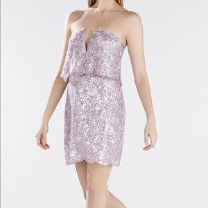 BCBG lilac strapless sequins dress